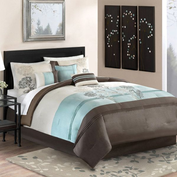 61 best turquoise and brown bedding images on pinterest - Bed bath and beyond bedroom furniture ...
