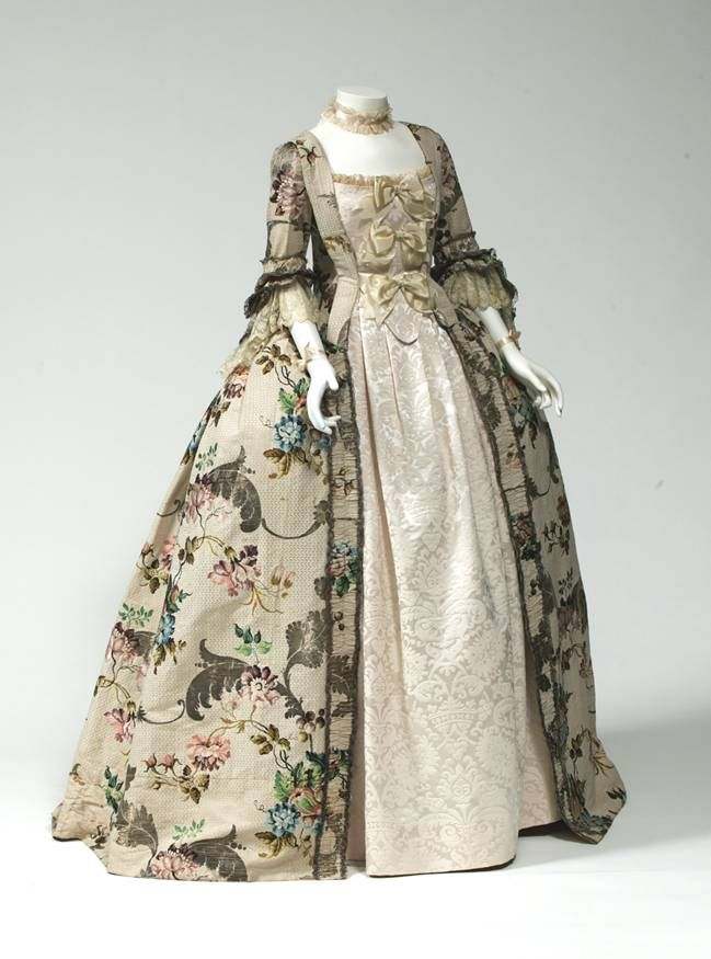 ROBE A LA 'ANGLAISE CIRCA 1760 Unknown English Maker (, - present) Place object was created: England silk brocade, metallic thread Museum Purchase: Auxiliary Costume Fund 2000.113.2A-C
