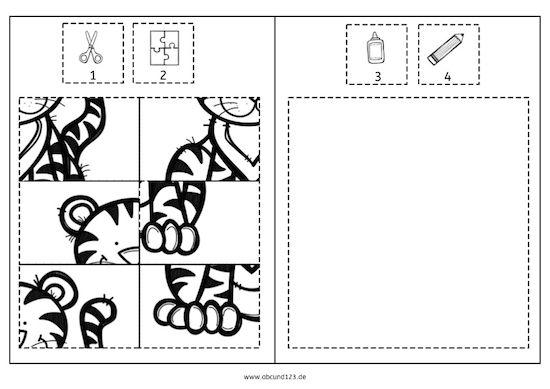 Tierpuzzles zum Ausschneiden, Zusammenpuzzeln, Aufkleben und Ausmalen.