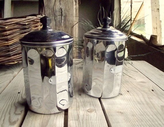 Chrome Copper Canisters  Set of 2  French by MyFrenchBricABrac