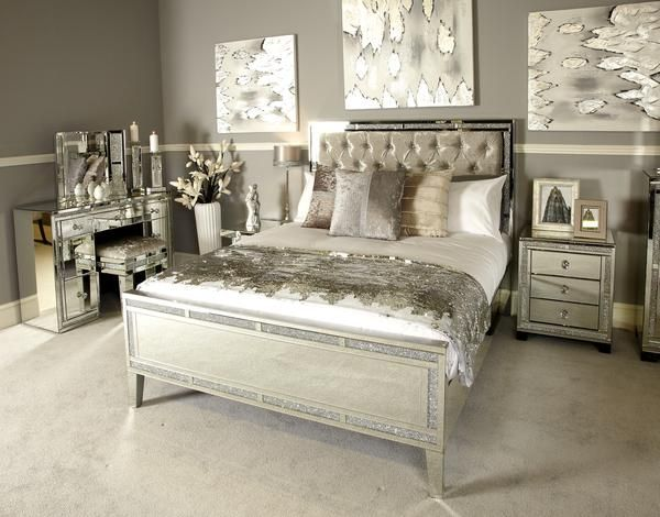 Sparkle Diamond Mirrored Bed Beds Sparkle Diamond Hos Home Mirrored Bedroom Furniture Small Bedroom Inspiration King Size Bed Frame