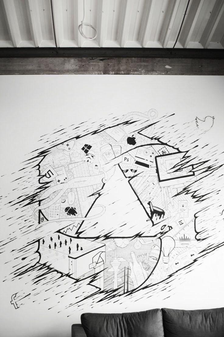appcom marketing & interactive   office chill room   wand deco   wand design   graffiti  black & white   molotov  wall  loft   sketch   scribble