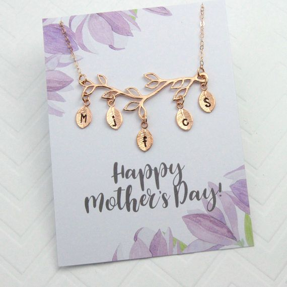 This necklace comes in rose gold, yellow gold or silver, with the message card Happy Mothers Day! For other card options, see below. { Materials } •chain, clasp, findings: rose gold filled, 14K gold filled or 925 sterling silver •Branch and leaves: Rose gold plated over brass, 16k gold plated over brass or white gold plated over brass. Branch size @4.5mm { READY TO ORDER? }  ✦ Choose necklace color and number of initial leaves.  ✦ Choose necklace length. For lengths up to 20 but not listed…