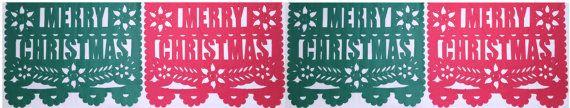 Merry Christmas/Feliz Navidad Papel Picado Banner by CalaveraPress