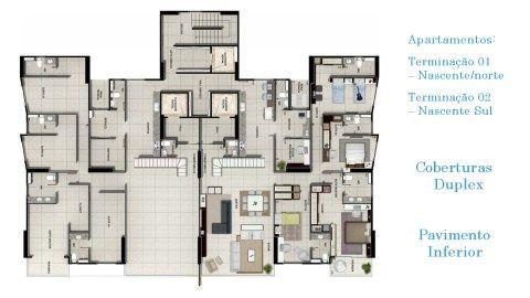Cobertura Duplex, nova, pronta, 4 suítes sendo 1 master com closet e varanda, 6 vagas de garagem.