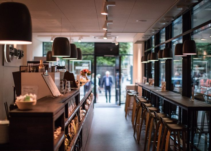 #Notte suspension fixtures have been customized with a special finish to perfectly match with the interior design of the new #emmerys organic bakery & coffee in Copenhagen. Project by Over Byen Arkitekter; photo by Morten Nordstrøm.