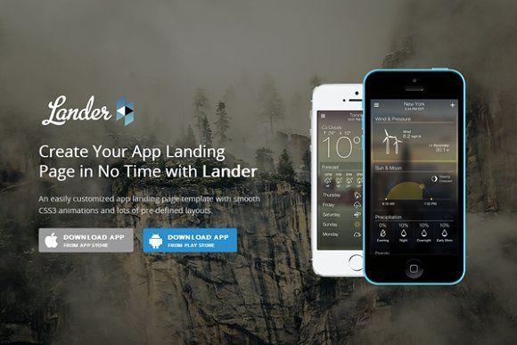 Lander Responsive App Landing App Landing Page App Web Themes