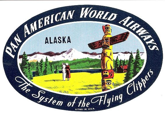 Luggage sticker pan american world airways the system of the flying clippers alaska