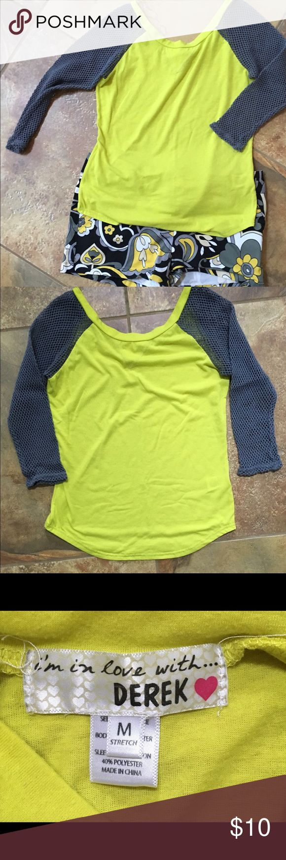 Neon yellow top with gray mesh sleeves Cute neon yellow top with gray mesh sleeves. Tops Tees - Long Sleeve