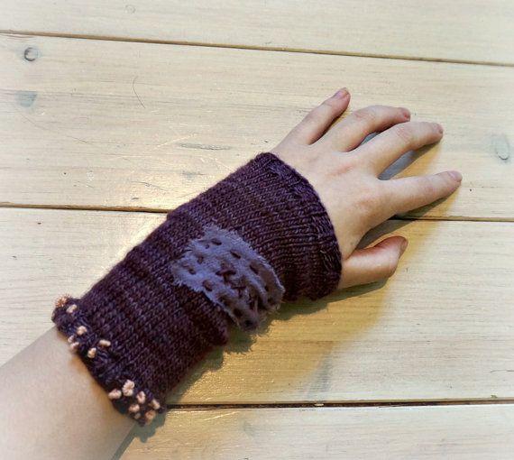 Super zachte paarse merino met zijde hand gebreide pols warmers/ Manos del Uruguay/ Fair trade/ borduren/ accessoire volwassen vrouwen/ OOAK