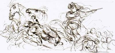 Study for the War Coffer (study for the decoration of the Salon du Roi, Palais Bourbon, Paris) - Eugene Delacroix.  1833-37.  Pen and brown ink on paper.  216 x 414 mm.  Musee du Louvre, Paris France.
