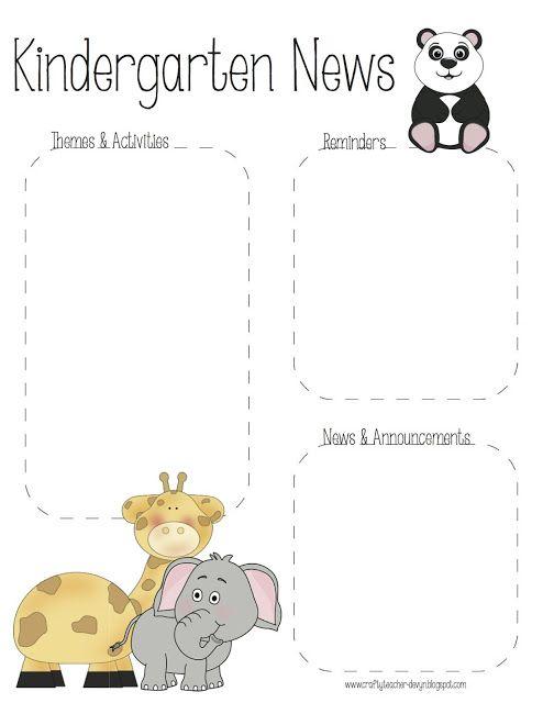 The Crafty Teacher: Pre-K & Kindergarten Zoo Newsletter Templates
