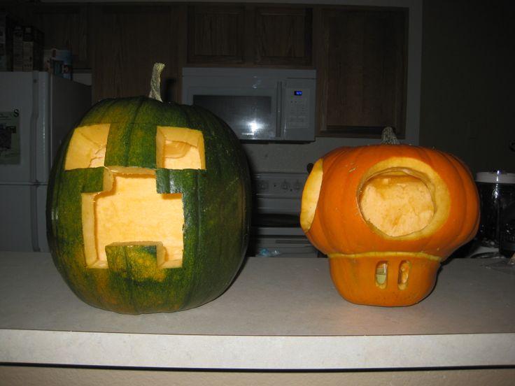 Minecraft and nintendo pumpkin carving