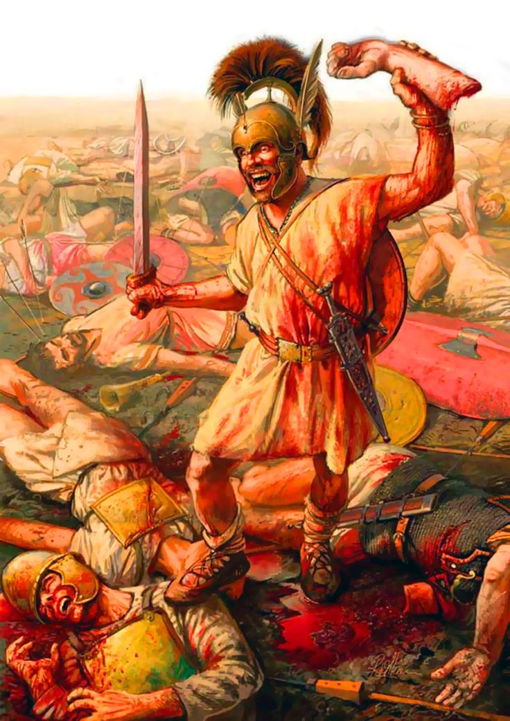 Celtic warrior with a severed trophy during the Punic Wars in Iberia