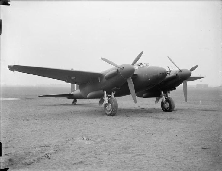 AIRCRAFT ROYAL AIR FORCE 1939-1945 DE HAVILLAND DH 98 MOSQUITO (ATP 10781B)   Mosquito NF Mark II, DD609, fitted with AI Mark IV aircraft interception radar, at the De Havilland Aircraft company's aerodrome, Hatfield, Hertfordshire, from where it was flown to the Aeroplane and Armament Experimental Establishment at Boscombe Down,Wiltshire, for tests. DD609 saw service with No. 151 Squadron RAF, and later with 54 Operational Training Unit.