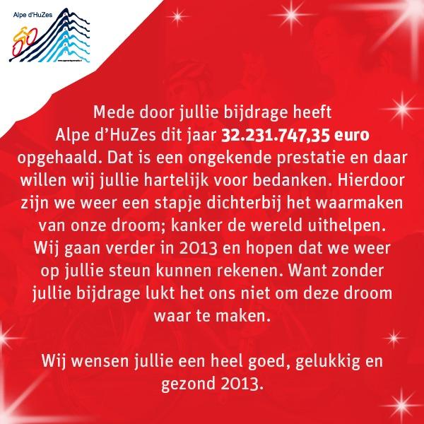 Alpe d'HuZes wenst al haar deelnemers, sponsors en supporters een goed, gelukkig en gezond nieuwjaar!