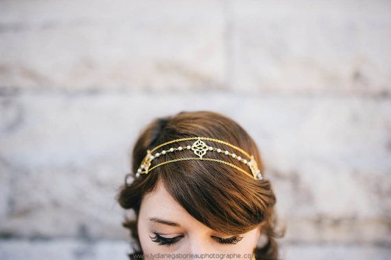 Roma Headpiece gold plated 18K and japanese beads  by eugeniebee