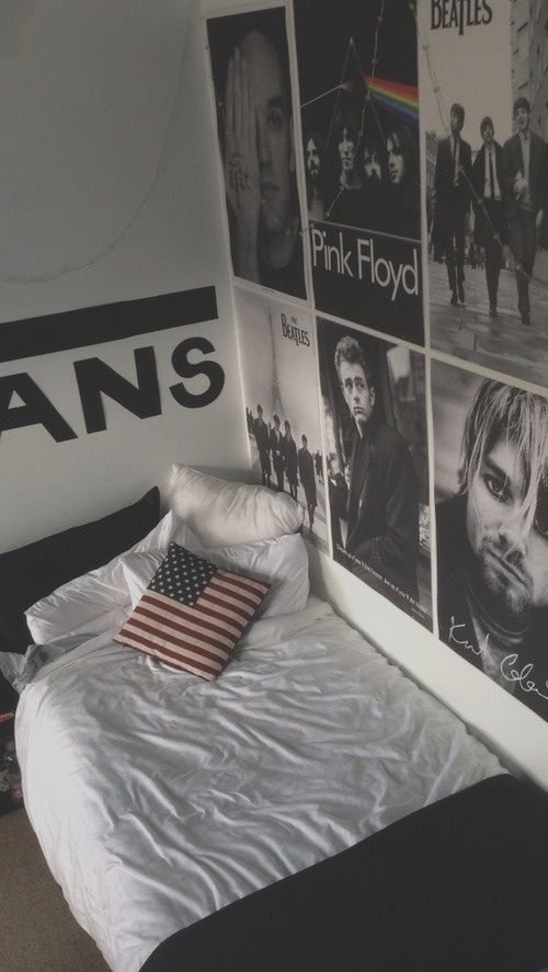 Hipster bedroom. Love the idea of black and white photos