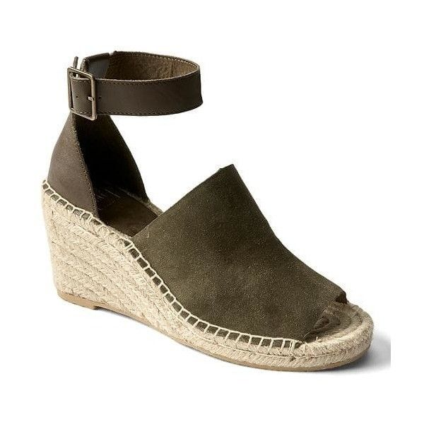 Gap Women Suede Espadrille Wedges ($65) ❤ liked on Polyvore featuring shoes, sandals, olive, regular, suede espadrilles, platform sandals, espadrille wedge sandals, platform wedge shoes and espadrille sandals