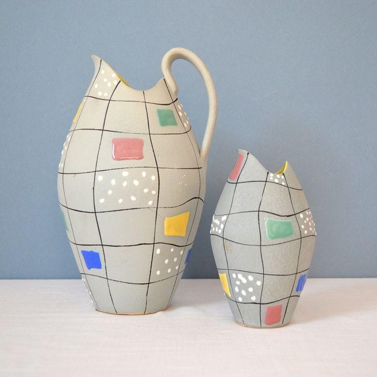 1950's Waechtersbach jug and vase