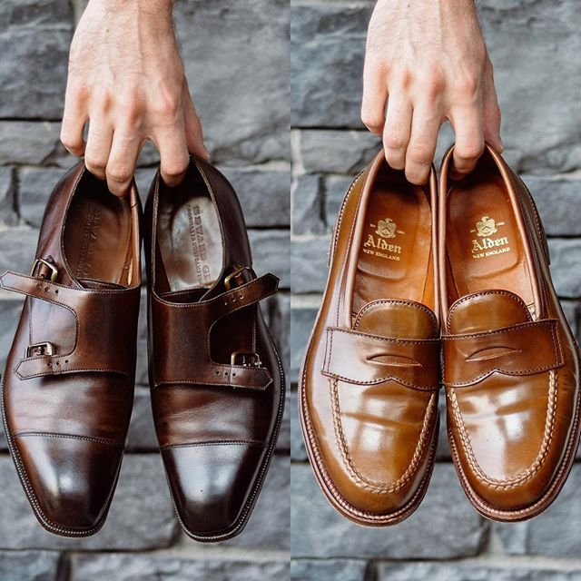 Monks vs loafers which side are you on? . @edwardgreen1890 dark oak Westminster and the @aldenshoeco whiskey @horweenleather shell cordovan LHS. Both incredible in my eyes but Id love to hear what you prefer leave a comment and let me know. . . #burzanhands #edwardgreen #aldenarmy #shellcordovan #dailylast #goodyearwelt #rakish #rakishgent #classicmenswear #stylishmen #menstailoring #stylishgent #madetobeworn #styleforum #madeinengland #mnswr #shoeshine #shineyourshoes #shoegazing #ptoman…
