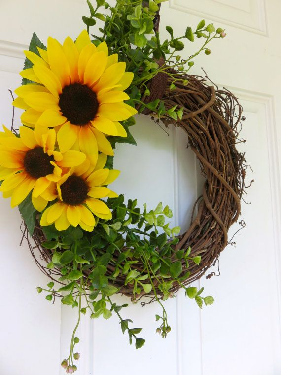 """Fall Wreath for Door, Sunflower Wreath for Door, Greenery Wreath, Summer Wreath, Natural Wreath, Fall Leaves Wreath, Smaller Wreath, Colorful Wreath This vibrant wreath is handcrafted on a 14"""" grapevine wreath with beautiful artificial sunflowers and greenery. This smaller wreath"""