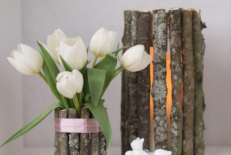 DIY: Kle en vase, lykt eller potteskjuler med grener. Naturlig og lekkert!