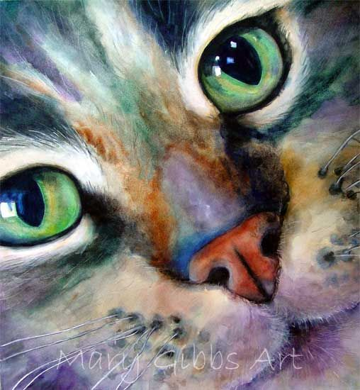 cat watercolor - Mary Gibbs. i have always loved cats so when I saw this picture I was astonished by its beauty!