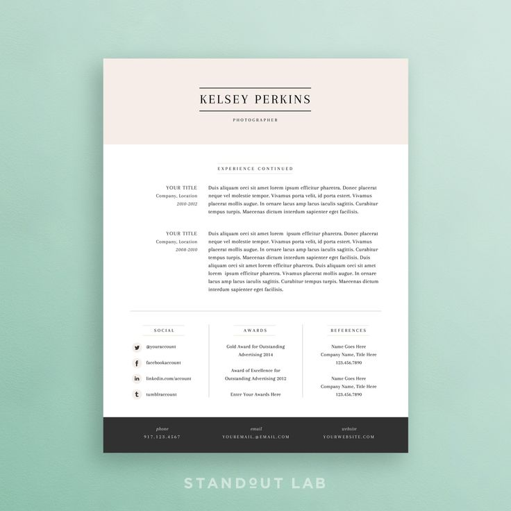 Template For A Cover Letter For A Resume%0A Resume Template and Cover Letter Template by StandoutLab on Etsy