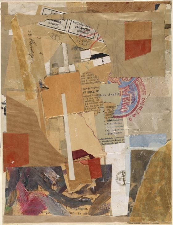 Kurt Schwitters 'Opened by Customs', 1937–8, Paper, printed paper, oil paint and graphite on paper