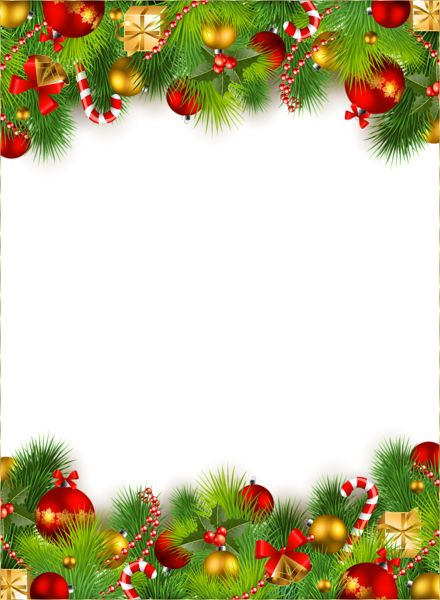 Cute Christmas PNG Photo Frame with Christmas Ornaments