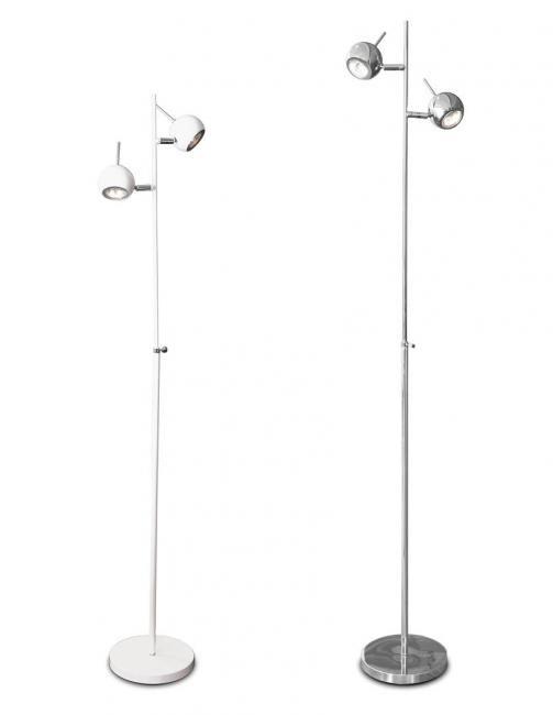 Metallirunkoinen valkoinen/kromi lattiavalaisin, suunnattavat spotit. Himmennin liitosjohdon välissä, valonlähteenä 2x35W MR16  Korkeus 150cm