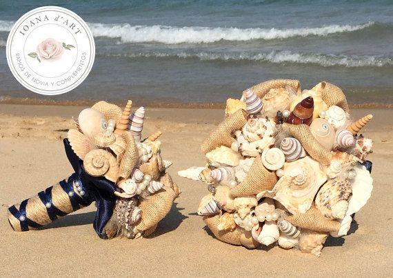 Ramo de novia con conchas y caracolas perlas tela de por IoanadArt