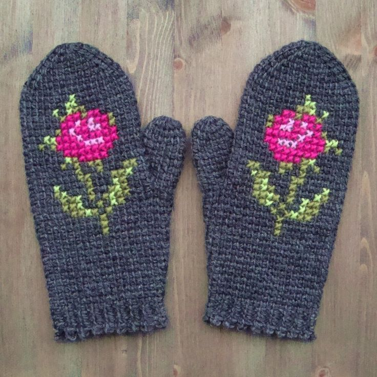 Dark Mittens In Tunisian Crochet With Cross Stitch Rose