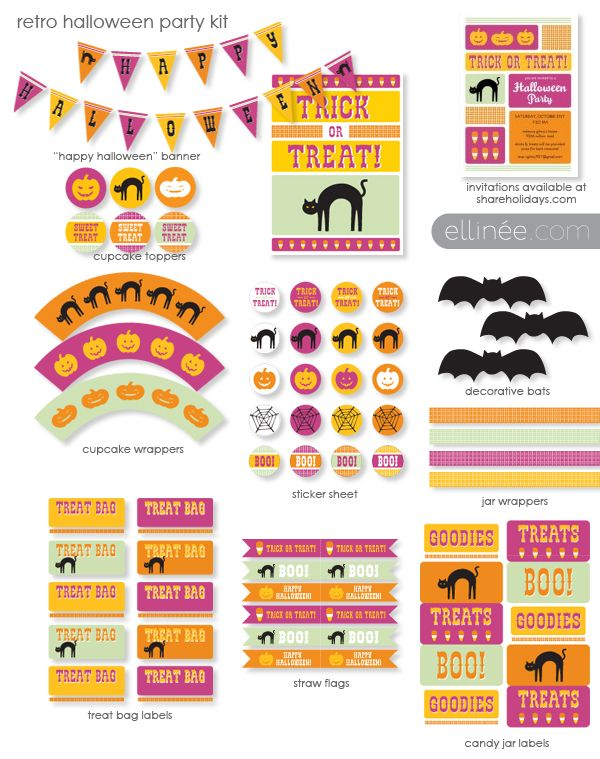 Halloween Party Printables with a Retro design. Use Worldlabel.com Full sheet labels to print on http://www.worldlabel.com/Pages/wl-ol175.htm