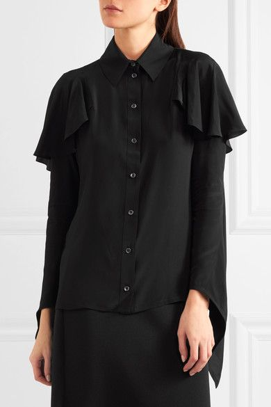 Black crepe de chine  Button fastenings through front 75% viscose, 25% silk Dry clean