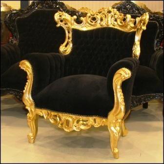 Muebles en estilo Luis XV en Oro con Negro