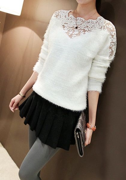 White Lace Mohair Top: