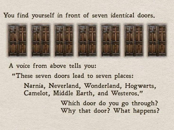 7 identical doors lead to 7 places: #Narnia, #Neverland, #Wonderland, #Hogwarts, #Camelot, #MiddleEarth, & #Westeros; Every #book is a doorway to another world, I choose all the #books.. That said, if the 8th door is blue, I'm gone! #Whovian solutions #FTW. ♥ #reading on the #TARDIS