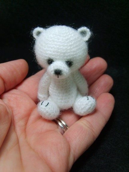Miniature Thread Crochet Teddy Bear Pattern PDF by thetinytoybox.