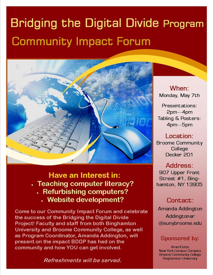 Faculty and staff from both Binghamton University and Broome Community College, as well as Program Coordinator, Amanda Addington, will present on the impact BDDP has had on the community and how YOU can get involved. Monday May 7th 2PM @Broome Community College, Decker 201.