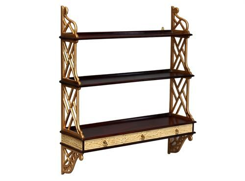 Lounge Chippendale 3 Drawer Hanging Shelf - Gold, Measurements 780 x 170 x 900