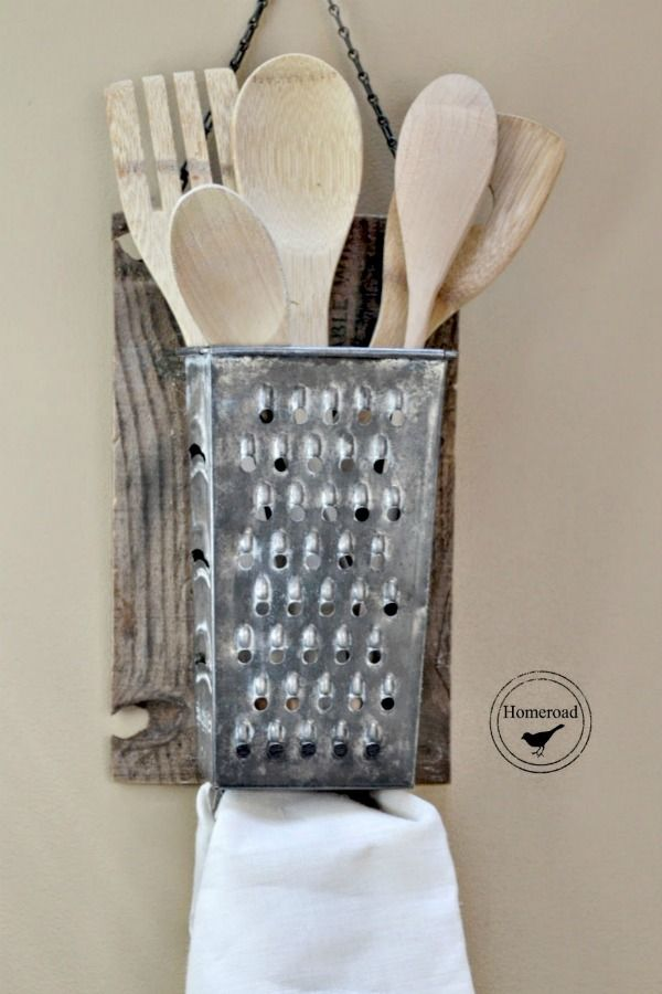 Repurposed Kitchen Tools via KnickofTime.net old box grater for utensils & tea towel: