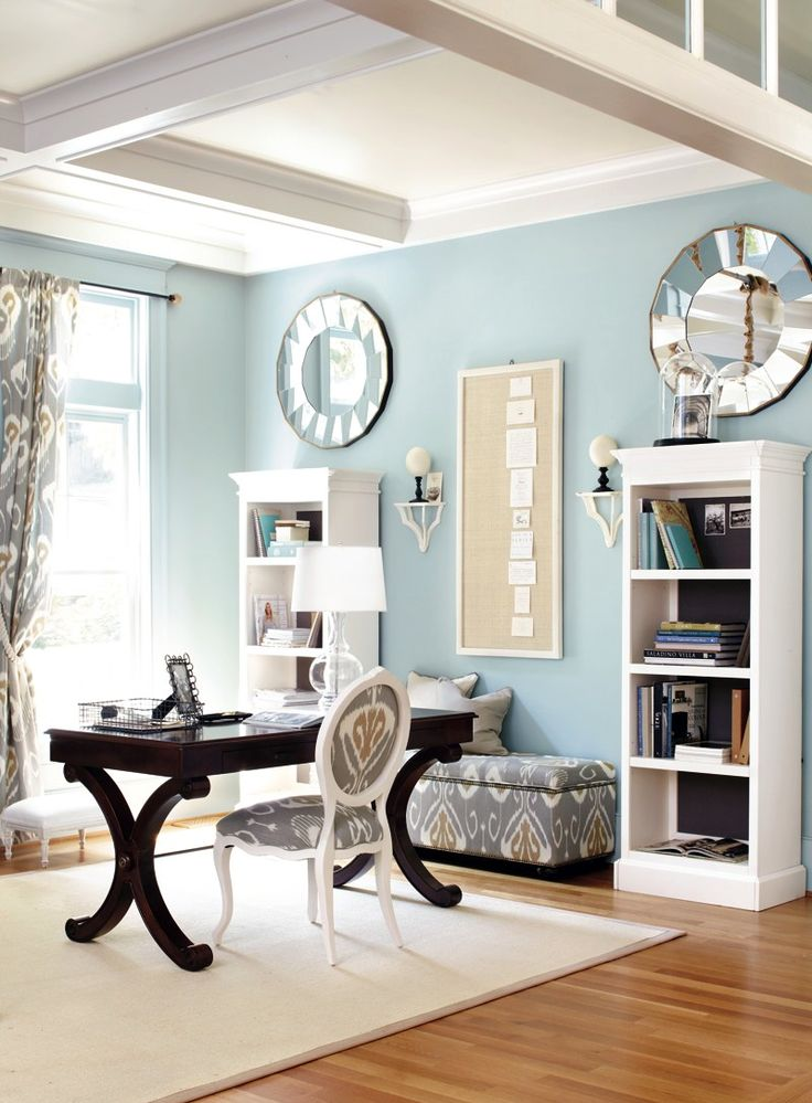 Light blue home office ak notes: love the accent colors/designs, mirrors above that add more light and the dark wood desk as well.