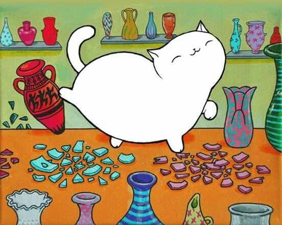 Fat white cat - knocking over vases