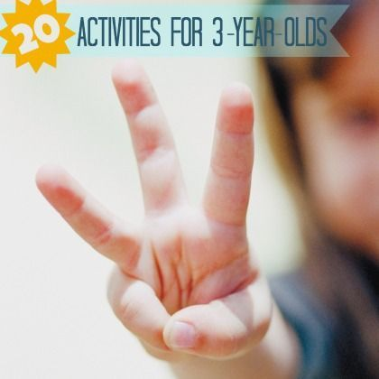 20 Fun and Easy Activities for 3-Year-Olds.  My fave ideas are wax rub art, sensory bags, musical chairs and letter squirter!