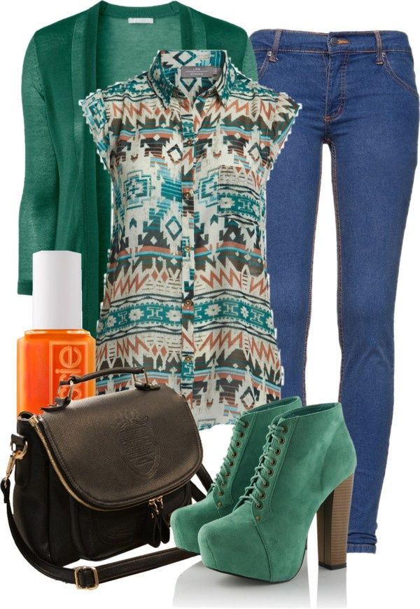 18 Aztec Street Style Polyvore...love the colors