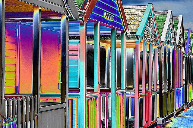 Beach Huts - Coloured Foil by snailtrail.co.uk vw camper sales, via Flickr  I love these so much!