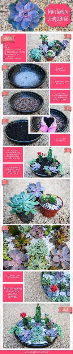 Faça em casa esse lindo Mini jardim de suculentas - DIY - jardinagem