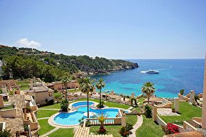 Обои Испания Курорты Дома Море Мальорка Майорка Бассейны Города